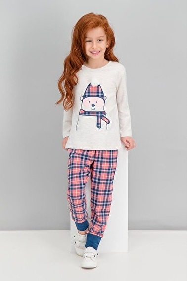 Roly Poly  Bear Ekose Karmelanj Kız Çocuk Pijama Takımı Krem
